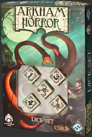 Arkham Horror Dice Set - 5 besonders gestaltete Würfel  (Schwarz auf Beige)