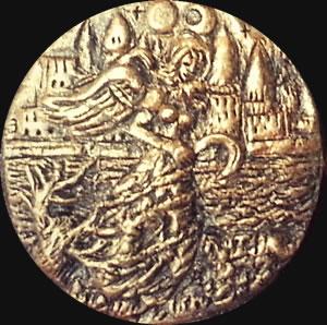 Königin in Gelb (Relief-Scheibe aus Resin) - Kult-Objekt