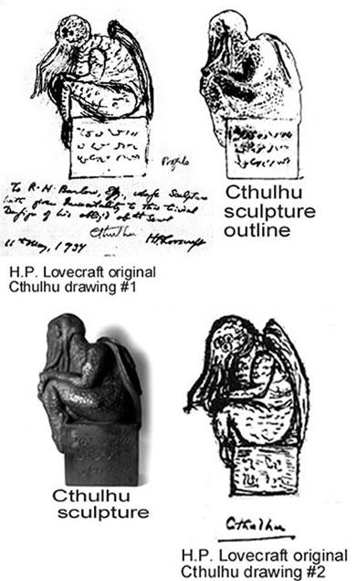 Cthulhu Statuette (Replikat) - nach H.P. Lovecrafts Handzeichnung