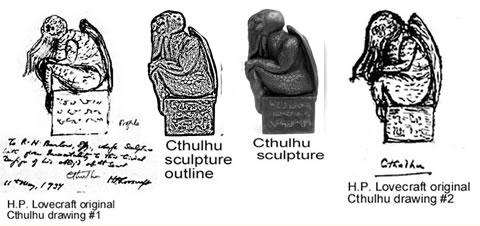 Cthulhu Statuette KLEIN (Replikat) - nach H.P. Lovecrafts Handzeichnung