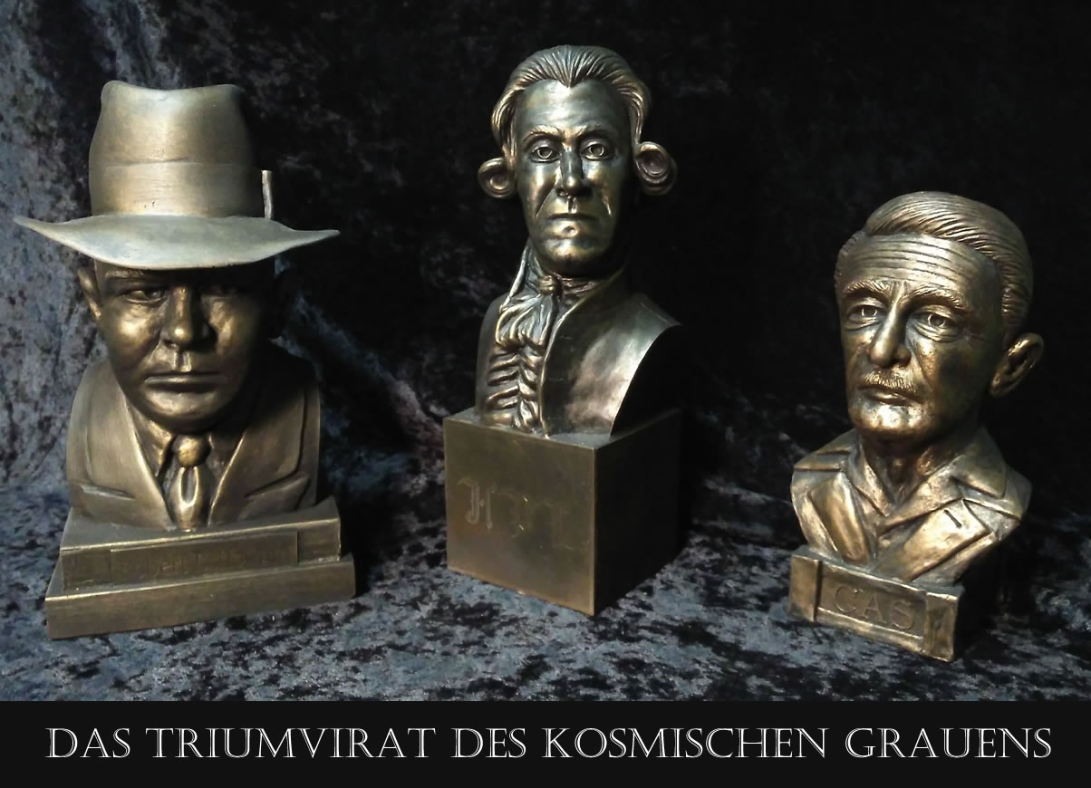 Triumvirat des kosmischen Grauens (3 Büsten) - Robert E. Howard, H.P. Lovecraft & Clark Asthon Smith