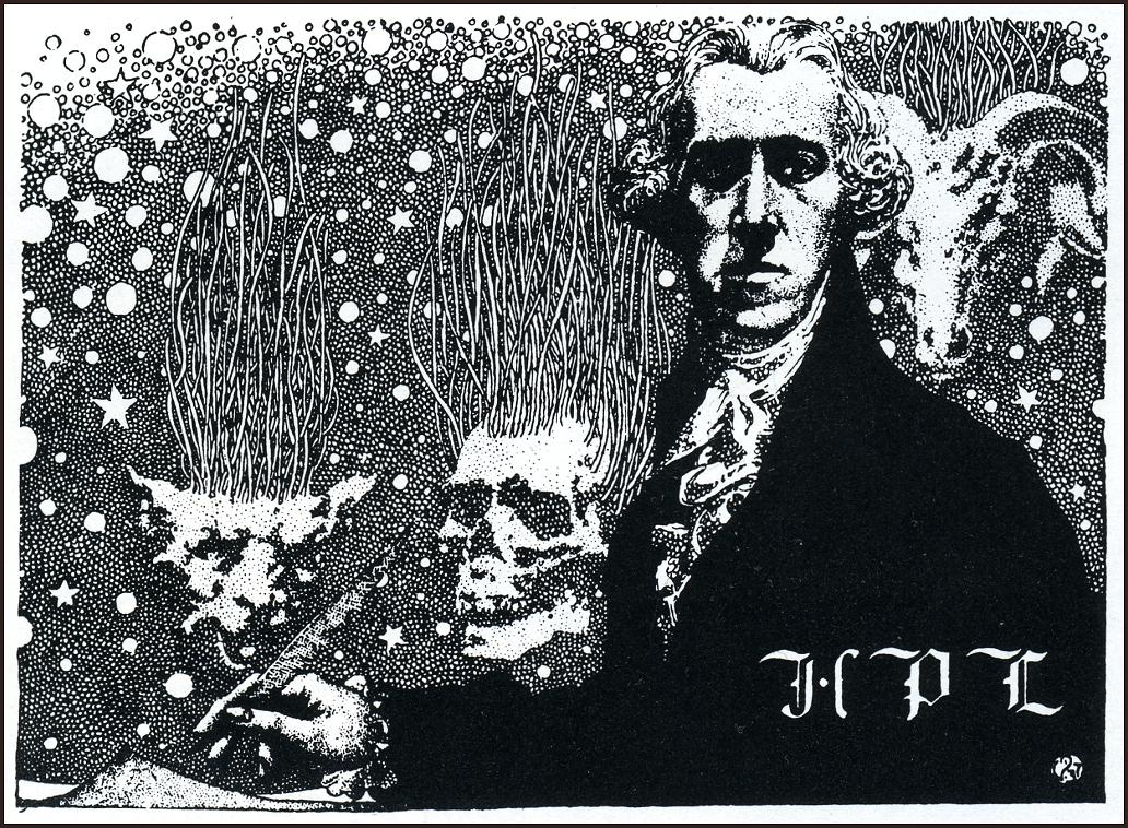 Portrait von H.P. Lovecraft von Virgil Finlay