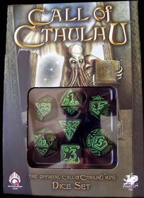 Cthulhu Würfelset (Grün auf Schwarz) - 1W4 - 3W6 - 1W8 - 1W20 - 1W100