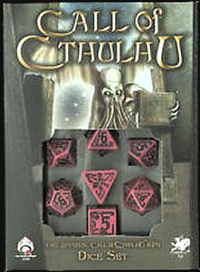 Cthulhu Würfelset (Schwarz auf Pink) - 1W4 - 1W6 - 1W8 - 1W12 -1W20 - 1W100 (=2W10)