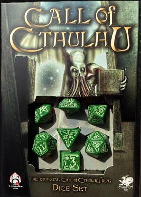 Cthulhu Würfelset (Glow-in-the-Dark auf Grün) - 1W4 - 3W6 - 1W8 - 1W12 - 1W20 - 1W100
